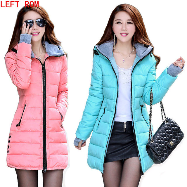 2017 Candy color Slim Cotton coat women Hooded Cotton-Padded New gloves Slim hooded women Korean version of the feather cotton