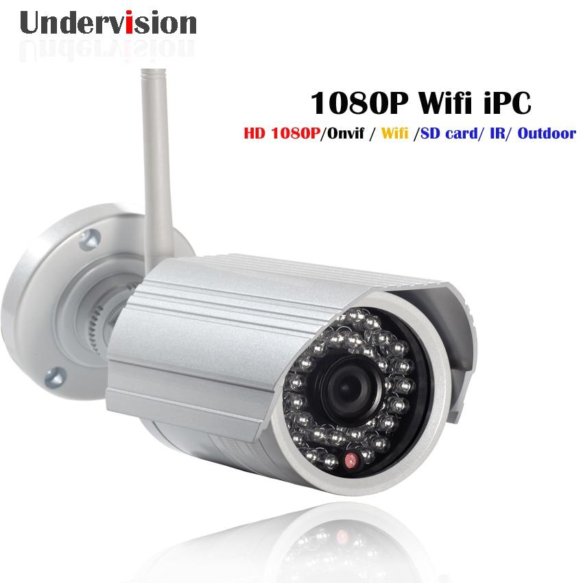 WIFI IP 1080P HD wireless IPC 2MP Megapixel IP Camera Wifi Outdoor IPC,P2P Plug & Play Waterproof IP 66  Onvif  SD card slot bullet 2mp hd tf card recording wireless waterproof ir infrared plug play p2p wifi outdoor onvif ip camera