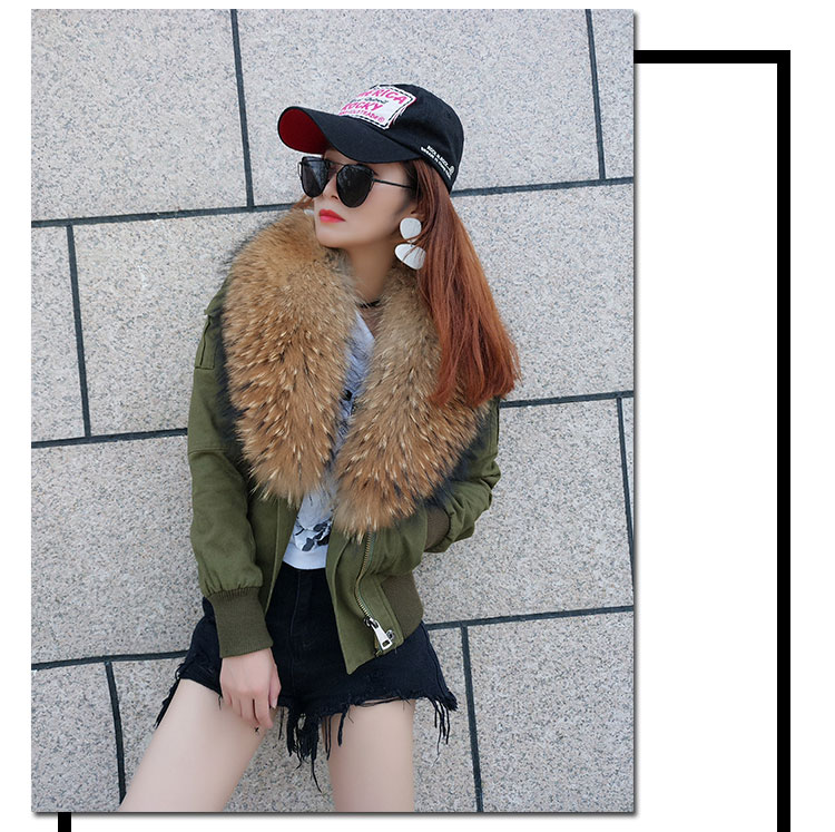 women cotton Flight suit jacket with real fur collar (3)