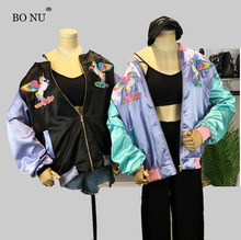 BONU Embroidery Unicorn Bomber Jacket Female Jacket Loosen Harajuku Female Streetwear Coats Jacket BF Long Sleeves Jacket Female