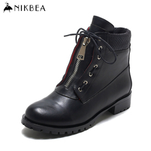 Nikbea 2016 Autumn Winter Punk Martin Boots Women Ankle Boot Ladies Black Botines Mujer Leather Boots Women Large Size Botas