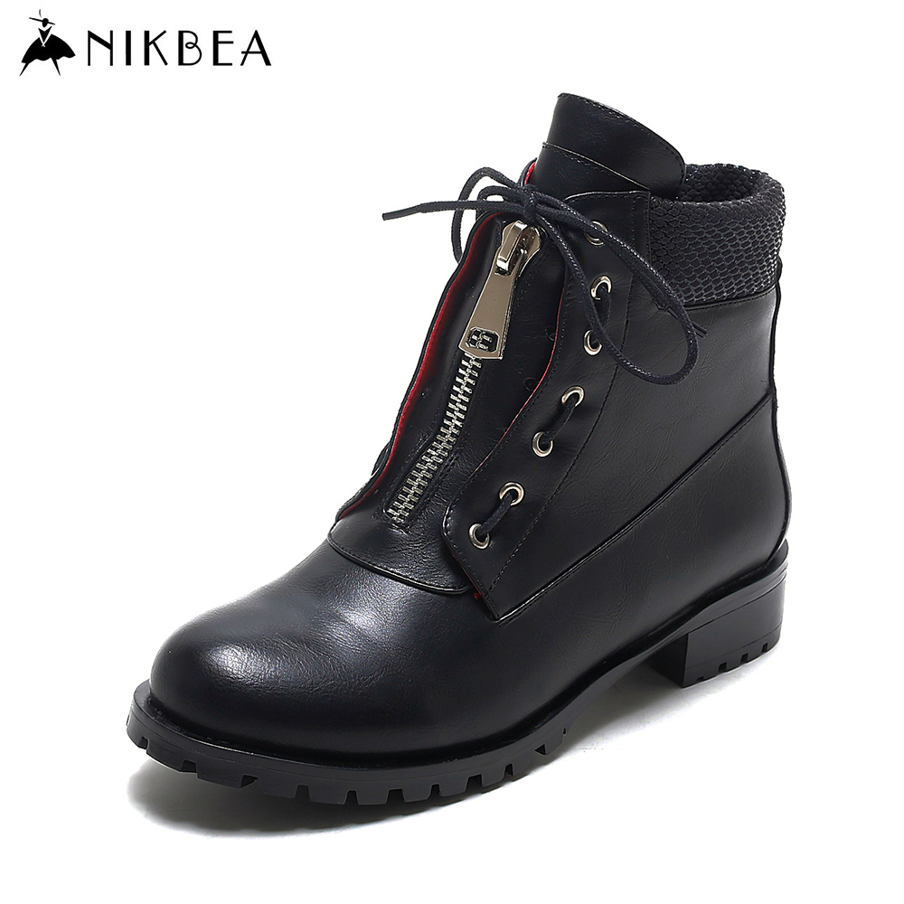 Nikbea 2017 Spring  Punk Martin Boots Women Ankle Boot Ladies Black Botines Mujer Leather Boots Women Large Size Botas botines mujer 2016 autumn spring women boots lace up print motorcycle ankle boot ladies flat shoes woman botas mujer xwx3362