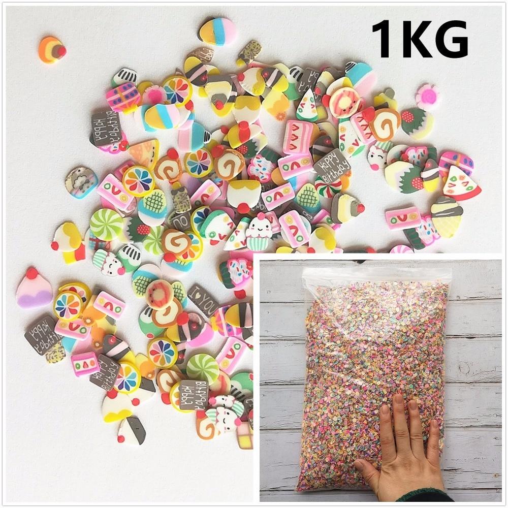 1KG 100000pcs DIY Slime Fruit Slices Cake Flower Filler For Nails Art Tips Balls Slime Fruit