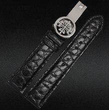 20mm 22mm Negro Mens Genuino Alligattor Cinturón de Correa de reloj Venda de Reloj de la Correa de Cuero de Cocodrilo Real