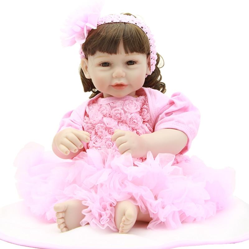 Realistic Lifelike Girl Babies Reborn 20 Inch 50 CM Silicone Vinyl Handmade Princess Girls Cloth Body Doll Toy Kids Playmate