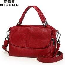 NIGEDU Marca bolsas para mujeres Bolsos de cuero de Vaca pequeña bolsa de cuero Genuino niñas Bolsos Crossbody del bolso negro para Las Mujeres Totes
