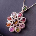Women Natural Tourmaline Gems Pendant Necklace Genuine 925 Sterling Silver Precious Stone Fine Jewelry Rose