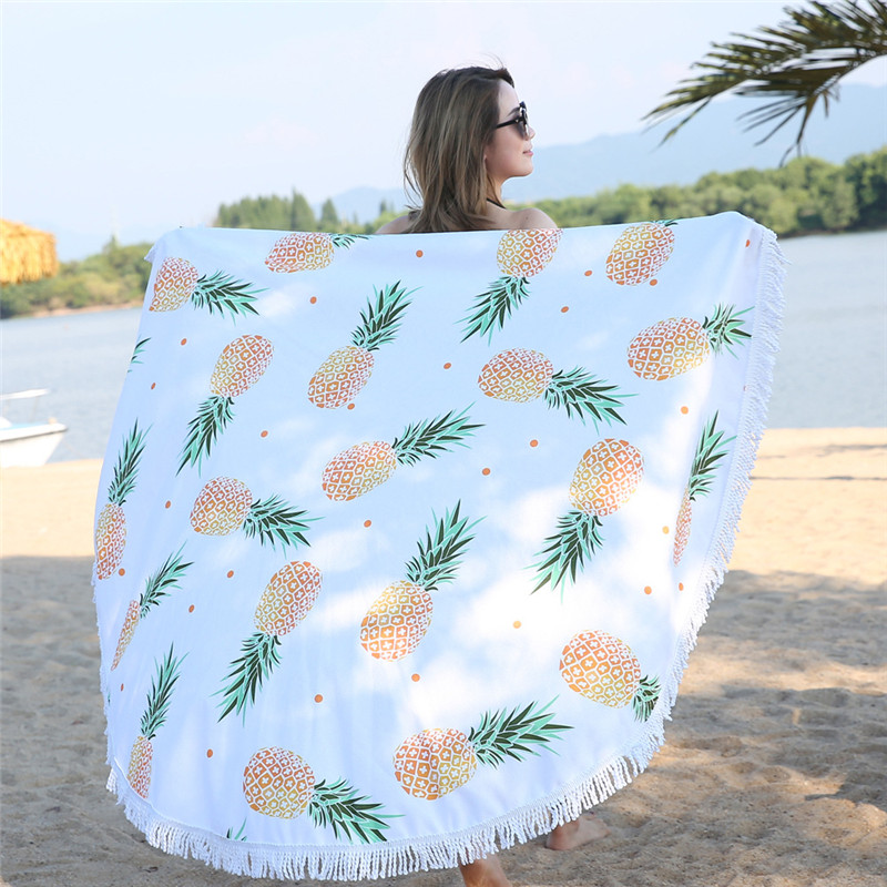 Pineapple Print Microfiber Tapestry 150cm Large Round Tassel Cotton Beach Towel for Adults Blanket Bath Towel Swimwear Yoga Mat