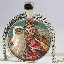 with Owl necklace Glass Witchy Jewelry Witchcraft Halloween necklace Witchcraft Jewellery Wiccan Gift pendant