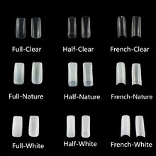 ФОТО 500pcs/pack nail tips natural french acrylic artificial false half/full cover nails 10 sizes for beginner practice mxs8083