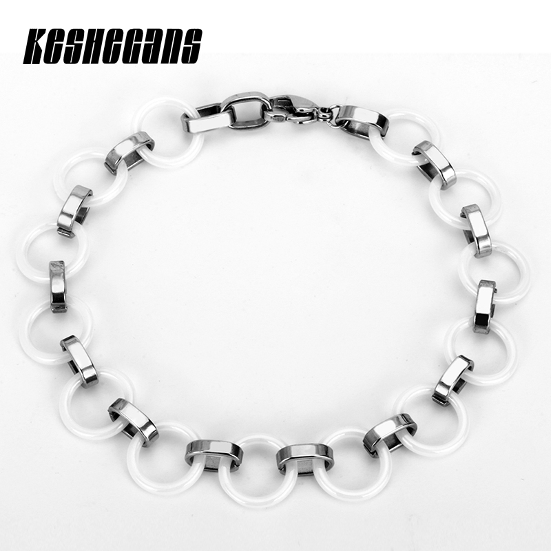 New White Ceramic Round Circle Bracelets Silver For Women Man Party Wedding Wrist Accessories Unisex Fashion Jewelry 21cm Long