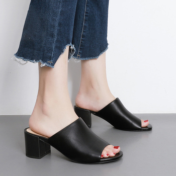 Donna-in Mules High Heels Peep Toes Genuine Leather Sandals Women Summer Flip Flops Shoes 2020 Slides Women Slippers Outdoor 1