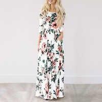 Mulheres verão maxi vestido 2019 branco floral impressão boho vestido de praia senhoras longo vestido de festa vestidos de festa 3xl