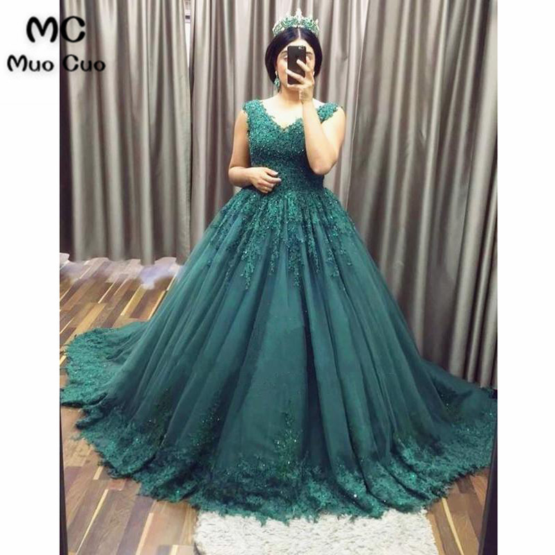 2018 Ball Gown Teal Prom dresses Long with Appliques Beaded dress ...