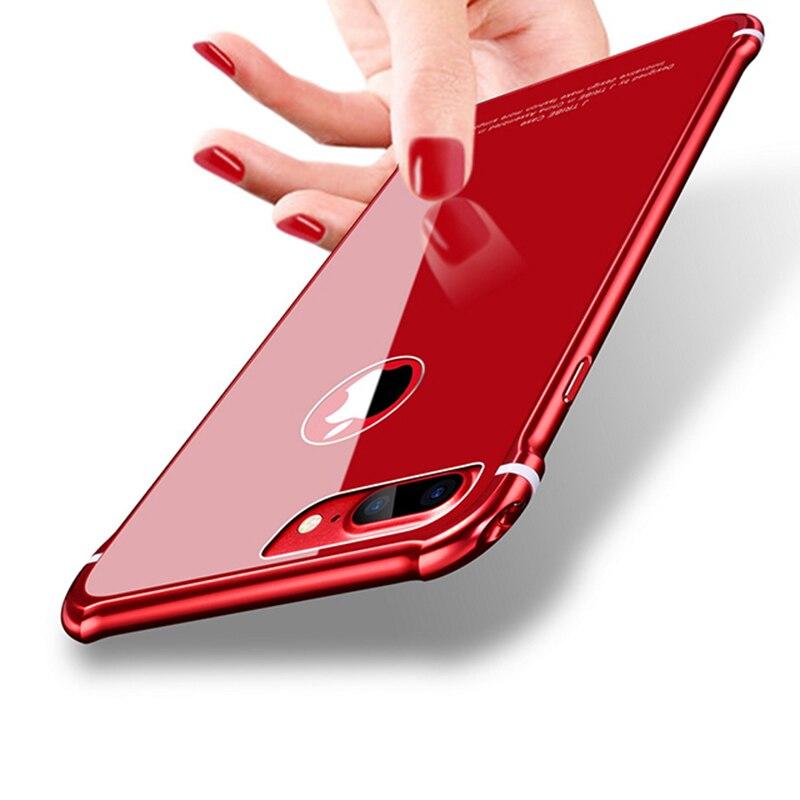 Leanonus New Case For iPhone 8 8Plus Case Luxury Aluminum Bumper+ Back Tempered Glass Armor Casing Cover for iPhone 8 Plus 7Plus