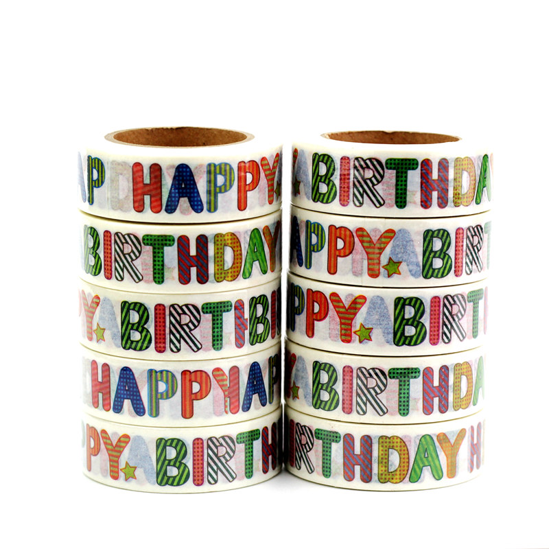 High Quality 10pcs/lot HAPPY BIRTHDAY Washi Tapes DIY Decorative Scrapbooking Planner Adhesive Masking Tapes Kawaii Stationery