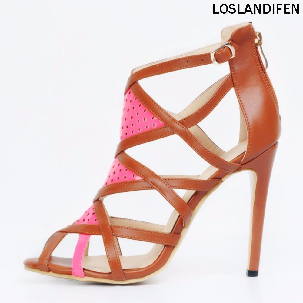 Femmes Zipper Cut Cm Romaine Talon Bout Xd15648 Vintage out Prom Stiletto Ouvert 11 Sandales Parti Haut Chaussures qrf1qP