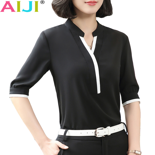 cdea31456b9 Fashion V-neck half short sleeve elegant shirt women OL Formal Business  chiffon blouse office ladies plus size work wear tops