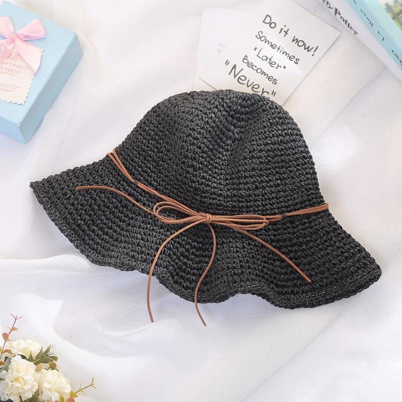 2017 Summer Women Floppy Hollow Breath Straw Bucket Hat With String ... 7489b6bf74e