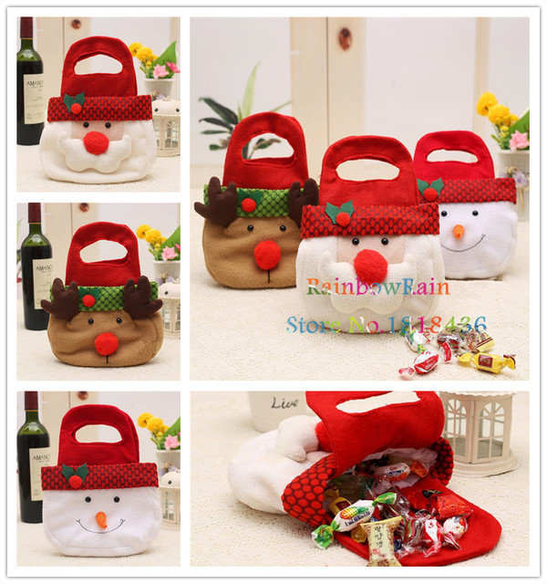 3 styles christmas candy bags gifts hand bags for kids christmas tree decoration present bags snowman - Christmas Candy Bags