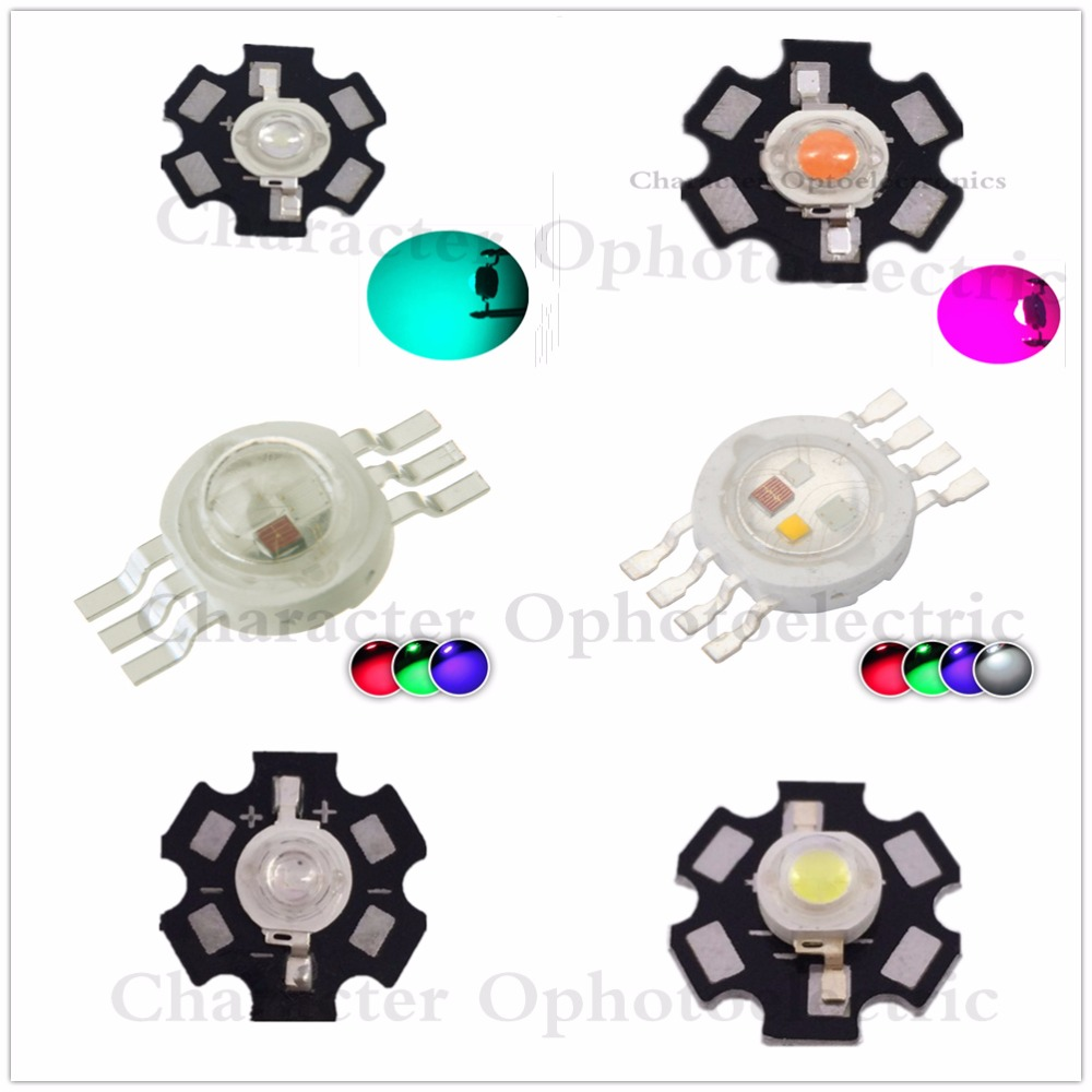10pcs 1W 3W 5W Warm / White Royal Blue Orange UV Violet RGB High Power LED Chip Light with PCB or not pcb /lot цены