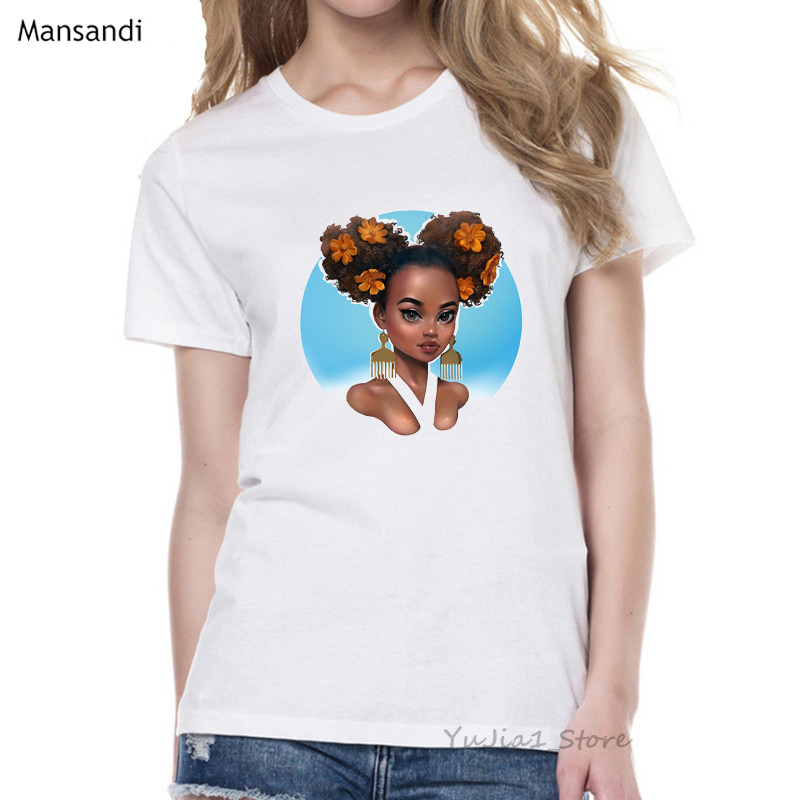 Melanin Poppin Shirt vogue t shirt women black African Curly Hair girl printed tshirt femme harajuku clothes female t-shirt tops 6