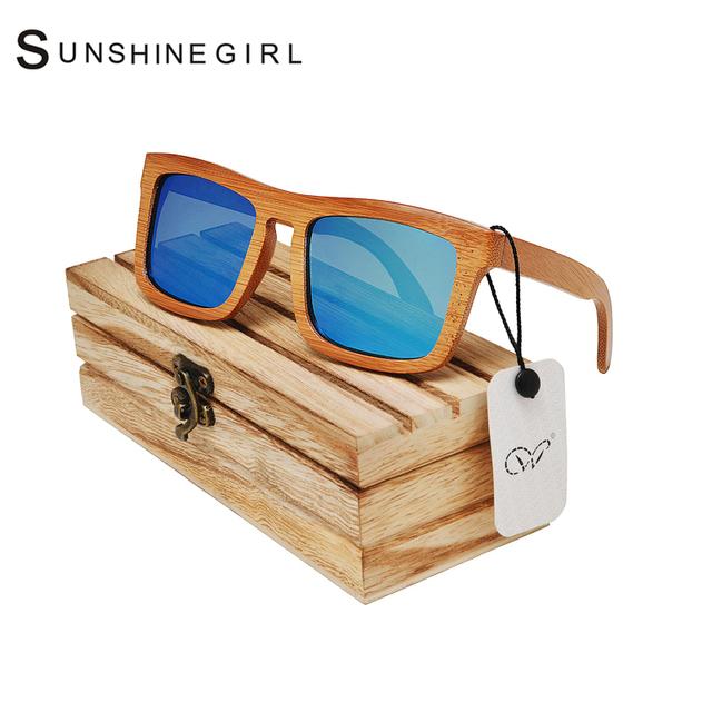 Solo de esporte Óculos Homens Marca Óculos De Armação De Madeira De Bambu Polarizada Espelho Óculos de Sol Retro Óculos de Solo
