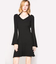 Autumn and winter lady dress solid color knit small hanging neck elegant body training