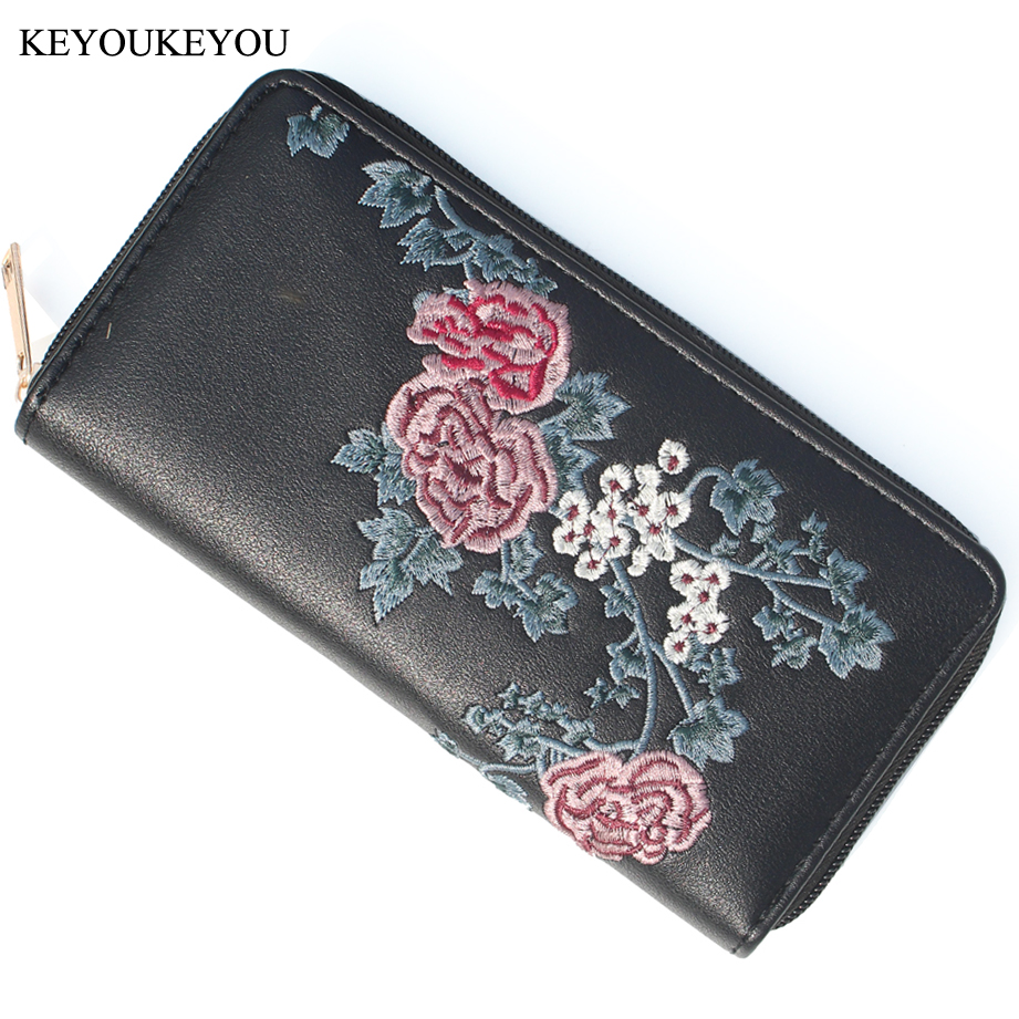 d03dbce173a1 Buy Long Women Wallet Zipper Laser PU Leather Floral Embroidered ...