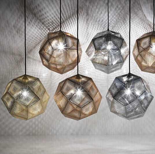 Vintage pendant lighting Mesh surface Light Shadow Multi faceted ball Lamp Stainless steel Metal Etch Pendant
