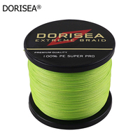Free Shipping Dorisea PE 4 Strands 1000M Braided Wire Fishing Line Multifilament 1000Yards Fish line 6 100LB 14 Colors
