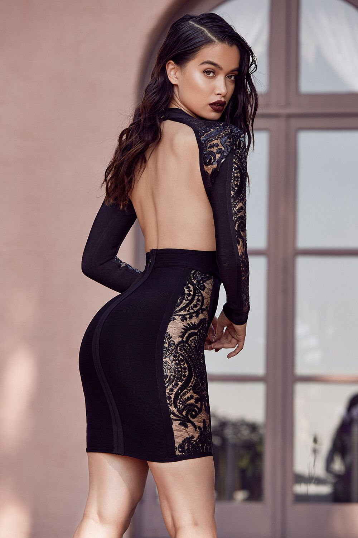 Mode Manches De Femmes Automne Celebrity Conception 2019 Clubwears Robe Longues Col Noir Party Dentelle Nouveau Bandage Roulé Gros Mini 56frnr