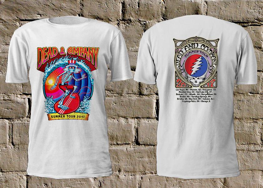 Printed Shirts Short Comfort soft Crew Neck Mens Dead Company Summer Tour 2017 Skull White Tshirt Rock Grateful Dead Shi