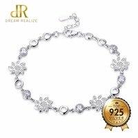 DR Shiny Zircon Flower Adjustable S925 Bracelets for Women Fine Jewelry Certificate 925 Sterling Silver Diamond Bracelet Female