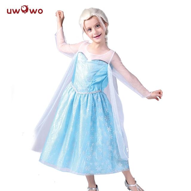 07cdb62c6d079 UWOWO Frozen Elsa Cosplay Dresses Halloween Costume For Kids Child Baby  Costume Anime Frozen Princess Elsa Dress Cosplay Crown
