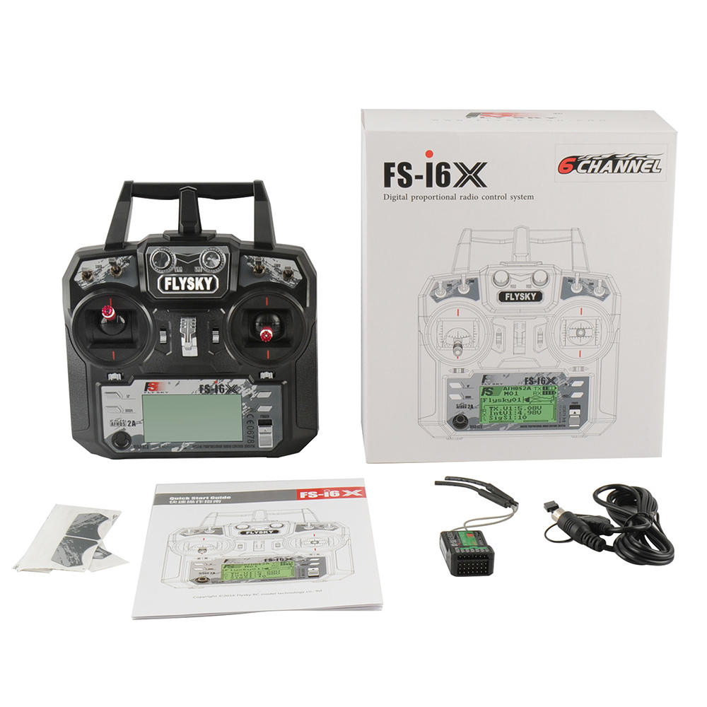 Fly Sky FS-i6X 10CH 2.4GHz AFHDS 2A RC Transmitter With FS-iA6B IA10B Receiver For Rc Airplane Drone Quadecopte image