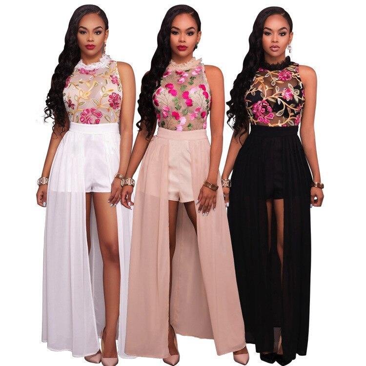 ddd399739 Las nuevas mujeres 2017 flor bordada Vestidos elegante malla de gasa largo  eving vestido Bayan vestidos fiesta zomerjurkje vestido de Club