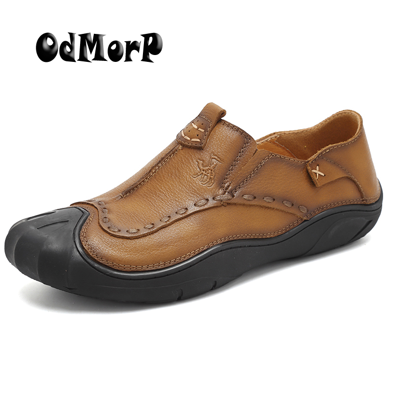 ODMORP Men Shoes Genuine Leather Shoes Brown High Quality Slip On Loafers Fashion Design Moccasins Casual Sneakers Shoes For Men