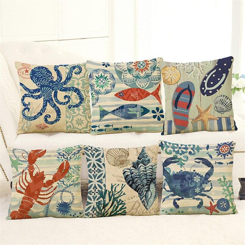 Ocean series starfish conch cojines marine coral almofada sea throw - Tekstil rumah