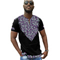 Ropa africana de impresión personalizada camisetas hombre áfrica dashiki clothing summer camisetas de manga corta patchwork tops