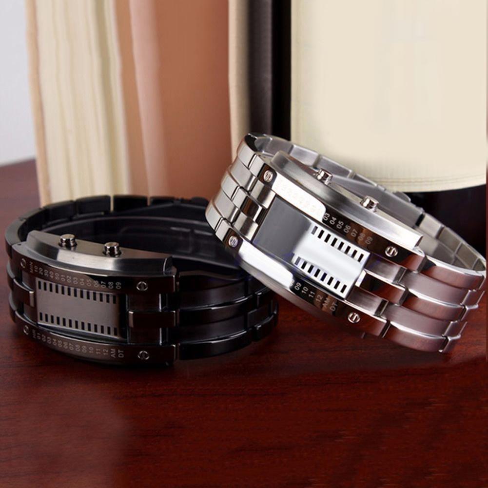 Fashion Couple Watch Men Women Creative Stainless Steel Clock LED Date Bracelet Watch Binary Wristwatch