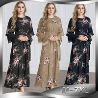 2018 Fashion Women Muslim Dress O Neck Long Plus Size 7XL Floral Dress Islamic Saudi Arabia