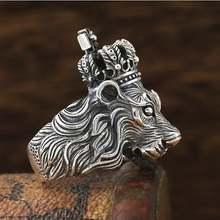 Винтажное кольцо в виде льва из серебра 100% пробы твердое искусственное