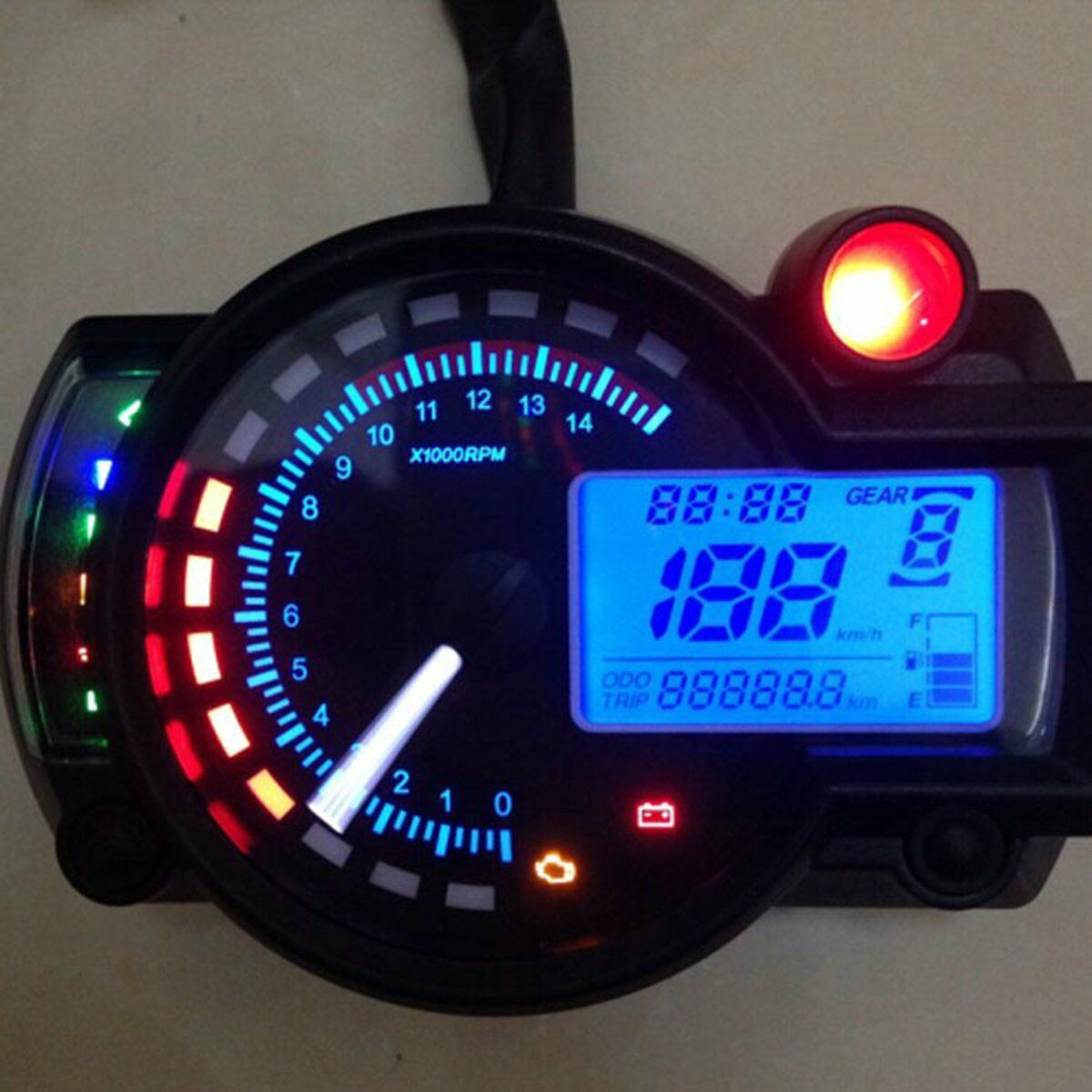 Universal 7 color display Motorcycle Digital Speedometer Multifunction LCD digita Tachometer Odometer Gauge LED image
