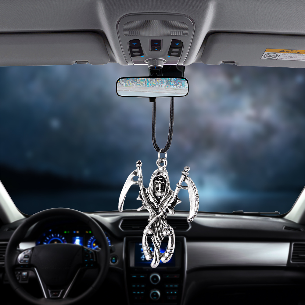 Car Pendant Gifts Death Scythe Rearview Mirror Decoration Auto Hanging Ornament Automobiles Interior Accessories Car-styling(China)