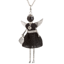 Cute Yarn Cloth Angel wings Dress Doll Necklace Women Sweater chain Necklaces Jewelry Christmas Gifts Jewelry Accessories стоимость