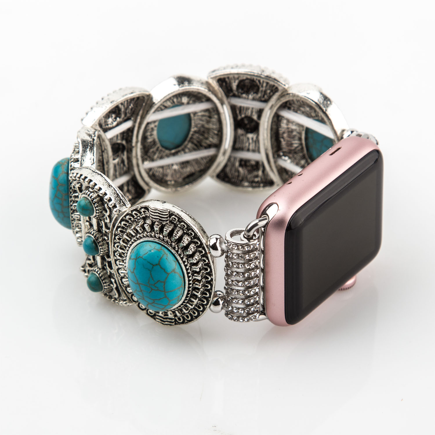 bracelet apple serie 3 retro turquoise stretch bracelet for apple series 3 2438