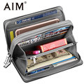 AIM Large Capacity Leather Clutch Wallet for Men Casual Double Zipper Wrist Bag Credit Card Organizer Travel Long Wallets Men