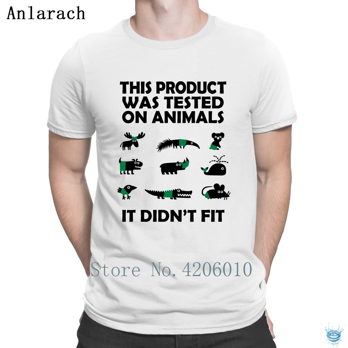 Product Tested On Animals Didn't Fit T-Shirts Designing Clothing Tshirt For Men Crazy Vintage Tee Shirt Summer Style