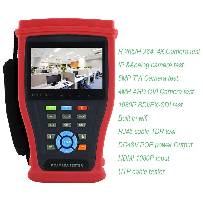 Newest 4K H.265 IP tester Analog CVBS AHD CVI TVI HD SDI CCTV tester monitor support 1080P HDMI input/output ,wifi,Onvif futv406x hd ird 1 dvb s s2 t c isdb t rf input 1 asi ip in 2 asi 1 ip output hdmi sdi cvbs xlr out with mux biss